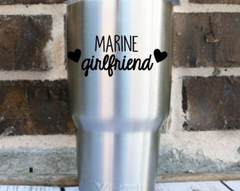 Marine Girlfriend Mom Sister Aunt etc. Decal Sticker , Yeti Decal , Marine Mom , Marine Love , USA , Laptop Decal , Car Decal