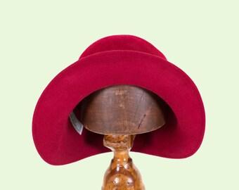 handmade miss fisher 1920s cloche hat/red fur felt cloche hat