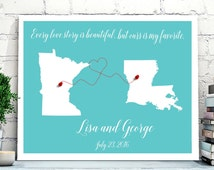 US States Wedding Guestbook Alternative Canvas,Map Wedding Guest Book, POSTER or CANVAS,Long distance relationship,Personalized Map wall art