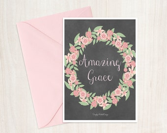 Amazing grace 5x7 note card (blank inside) - with white envelope