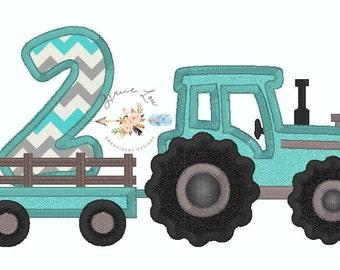 Tractor embroidery design, tractor appliqué, tractor with trailer appliqué design, tractor with trailer, tractor appliqué, 5x7, birthday