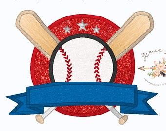 Baseball embroidery design, Baseball and Bats embroidery design, Baseball appliqué, 4x4, 5x7 and 6x10 designs