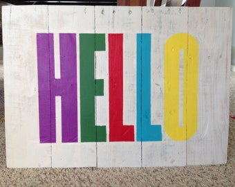 Adorable bright multicolored pallet sign