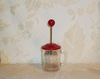 Vintage Food Chopper - Red Top - Hazel Atlas -  Retro Kitchen Gadget