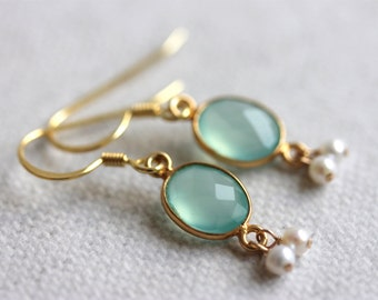 Aqua Chalcedony Earrings, Gold Vermeil Jewelry, Boho Chic Earrings