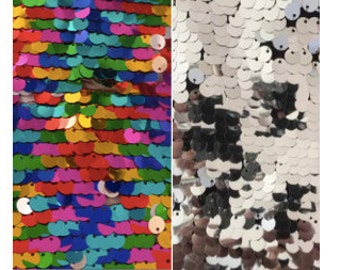 """Reversible Sequins Mermaid Pillow Rainbow 16""""x16"""" (8mm) Multicolored/Silver"""