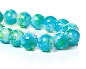 1 Strand Mottled 10mm Glass Beads Blue/Yellow/Green  (B9b)