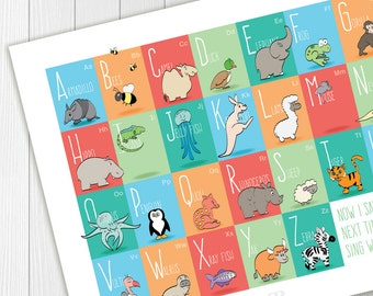 Nursery wall decor,  alphabet poster with animals