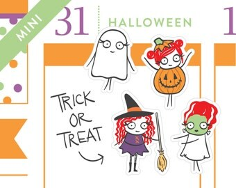 P337 - Halloween planner stickers, Witch stickers, Ghost, pumpkin, frankenstein, planner stickers, 36 stickers, MINI size, PPC202