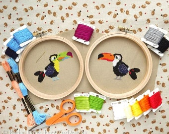 Tropical Toucans Cross Stitch Pattern PDF | Toco & Keel-billed Toucans | Cute Little Bird | Easy | Modern | Beginners Counted Cross Stitch