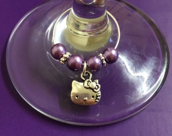 Cute Kitty Wine Glass Charm - Multiple Bead Colours Available