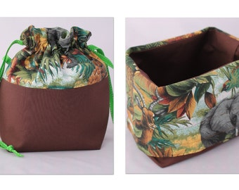 Small BASKET Bag, Drawstring bag with fold over top to create basket. Jungle print - great for a craft project bag.
