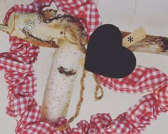 Fabric gingham heart / heart em tecido vichy