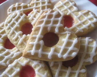 1 dozen crystal/candy cookies, stained cookies, heart cookies, baby shower cookies, lattice icing