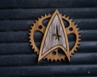 Steampunk Starfleet Badge - star trek inspired