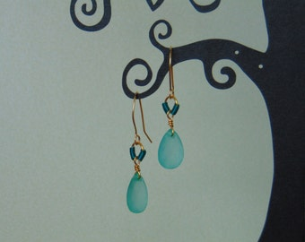 Turquoise bead, wire-wrapped gold plated dangle and drop earrings