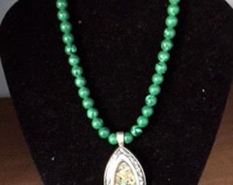 Malachite Green Neclace with Pendant