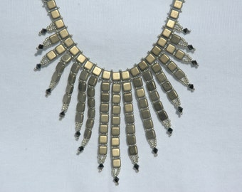Necklace, Tile Blast featuring squares, crystals, and seed beads