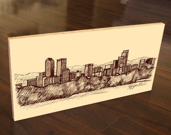 Denver Colorado Skyline Panorama Drawing Sketch Wood Block Art