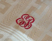 "Vintage German Linen Kitchen Towels, Unused Chevron Damask, Turkey Red Monogram ""EB"", Hand Embroidered, Unused"