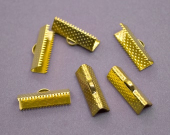 20 pcs 20mm Gold Ribbon Clamp End Crimps - Gold Tone
