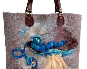 Caterpillar felt bag MADE to ORDER.  Аccessory, felted bag, unique bag, Alice in Wonderland, OOAK