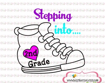 second grade svg, DXF, EPS cut second grade cut file 2nd grade svg  svg back to school svg school cut file svg back to school design