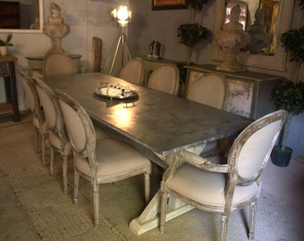 zinc top dining table made with reclaimed wood