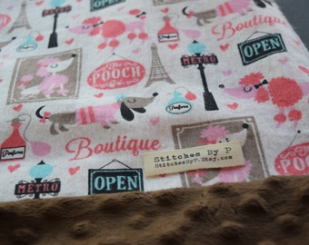 Toddler Blanket Dog Boutique Nursery Paris Poodle Bedding 50 theme Pink and Brown Kids Gift under 50 Your choice of pinky blanket