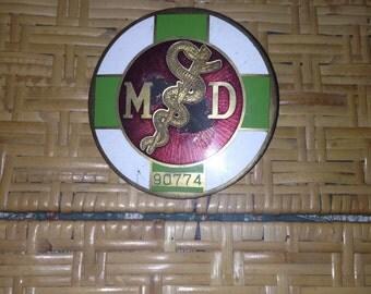Porcelain Brass Medical Automobile License Plate Topper.