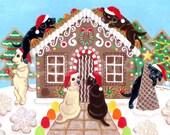 Labrador Christmas Painting, Labrador Christmas Print, Holiday Dog Art, Holiday Labrador artwork -- Ginger Bread House Labradors 8 x 10