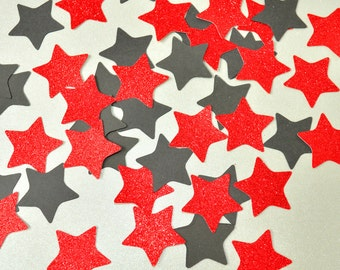 New Years Eve Party Star Confetti Mix Birthday Party Graduation Black and Red Glitter Star New Year Confetti