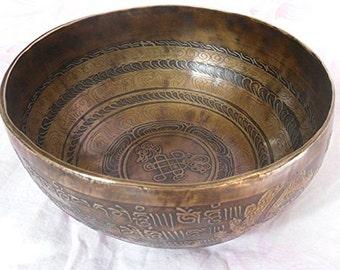 """10"""" Healing Mantra Carved Meditation Tibetan Singing Bowl"""