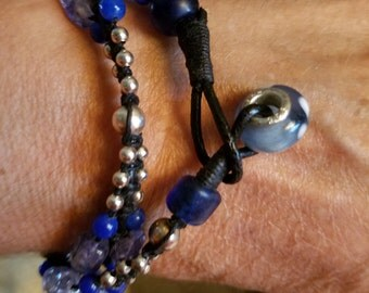 Blue and Silver Beaded Wrap Bracelet or Necklace
