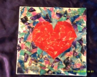 Heart Mosaic on Canvas