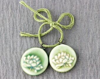 Tiny Lotus Awakening porcelain charms honeydew melon green glaze