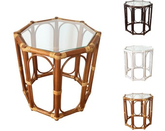 """Rattan Coffee End Table model Trudi 19"""" with Glass Top 3Colors"""