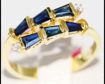 Gemstone Diamond Unique 18K Yellow Gold Blue Sapphire Ring [RR036]