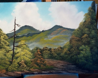 Original Bob Ross Style Oil Landscape Painting on 12x16 canvas
