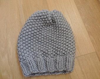 Handmade wool slouchy hat grey