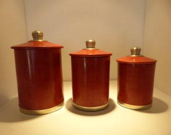 Decoration set of 3 round boxes tadelakt red brick