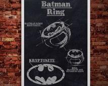 Batman ring wedding Print Poster Drawing Sketch House Decor Modern Art