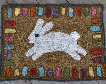 Running Rabbit Wool Hooked Rug
