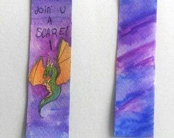 Scary dragon bookmark - original watercolour bookmark - Perfect for book lovers or fantasy fans of all ages!