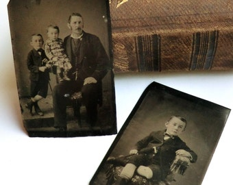 2 Tintype Photos Father with Boy & Girl, 2nd Tintype of Boy Only