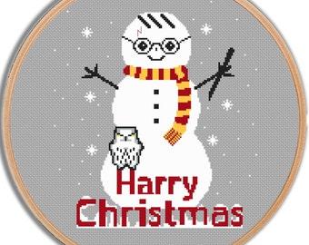 Funny Harry Potter Cross Stitch Pattern Merry Christmas Harry Potter Nursery Harry Potter pattern Modern Cross Stitch Geeky Cross Stitch