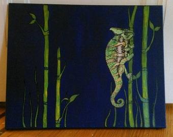 16X20 Chameleon Acrylic Painting