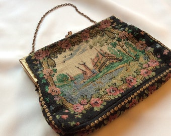 French tapestry small purse / Vintage fabric evening bag