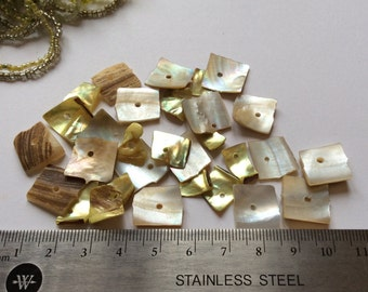 Shell square beads / Mother of pearl beads lot / Yellow and white shell