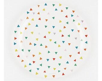 8 Multicoloured Triangle Paper Plates